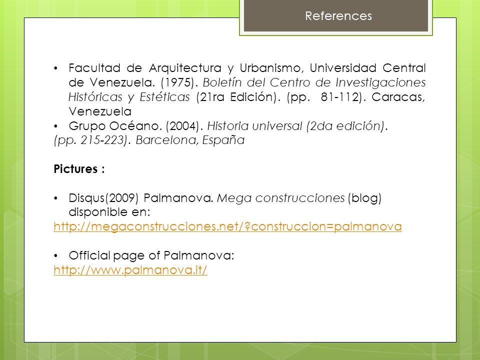 References Facultad de Arquitectura y Urbanismo, Universidad Central de Venezuela.
