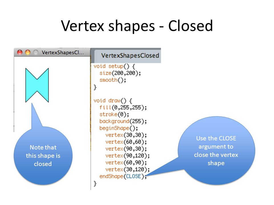 Vertex shapes - Closed Use the CLOSE argument to close the vertex shape Note that this shape is closed