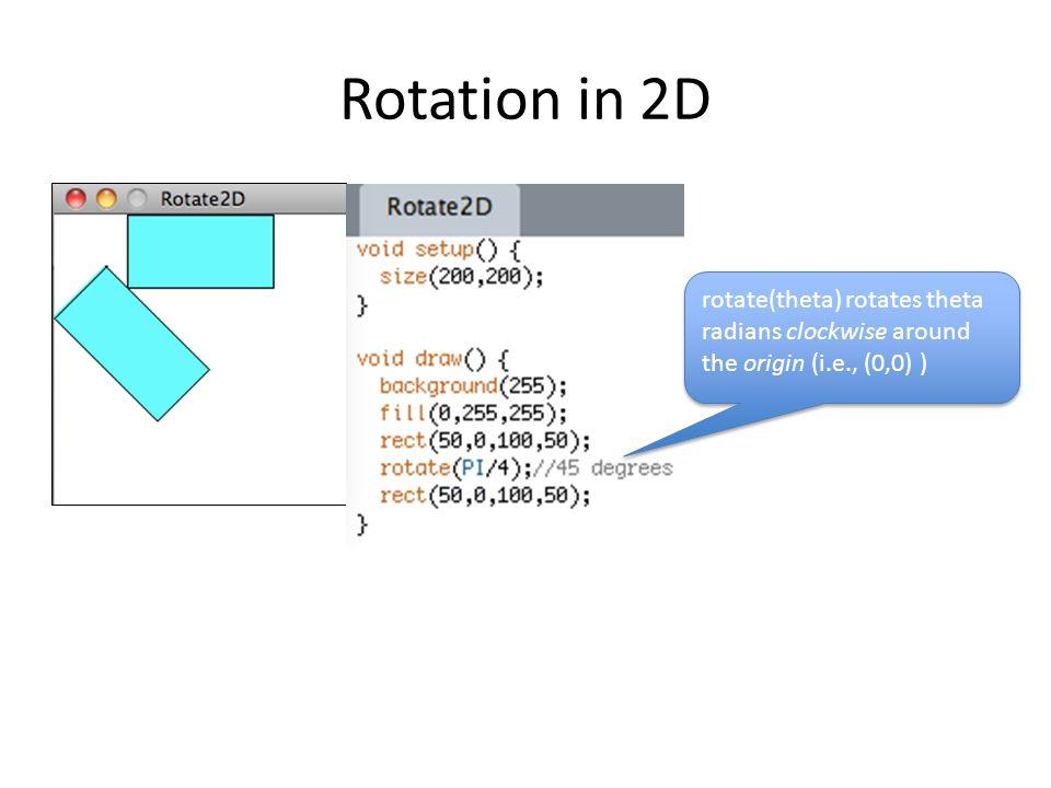 Rotation in 2D rotate(theta) rotates theta radians clockwise around the origin (i.e., (0,0) )