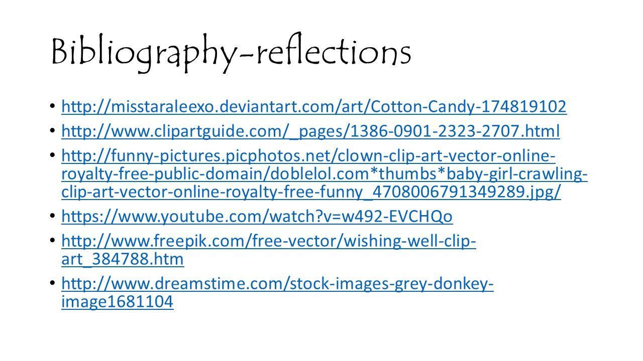 Bibliography-reflections http://misstaraleexo.deviantart.com/art/Cotton-Candy-174819102 http://www.clipartguide.com/_pages/1386-0901-2323-2707.html ht