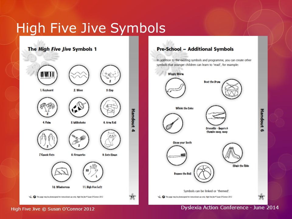 High Five Jive © Susan O'Connor 2012 Dyslexia Action Conference - June 2014 High Five Jive Symbols