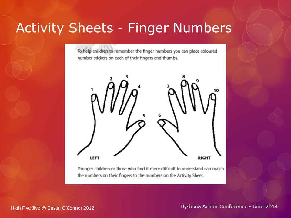 High Five Jive © Susan O'Connor 2012 Dyslexia Action Conference - June 2014 High Five Jive © Susan O'Connor 2012 Part Two - The Hand Jives  High Five Jive is a series of hand movements.