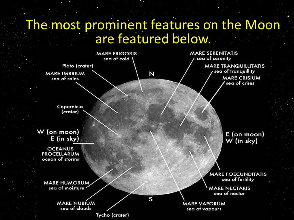 The most prominent features on the Moon are featured below.