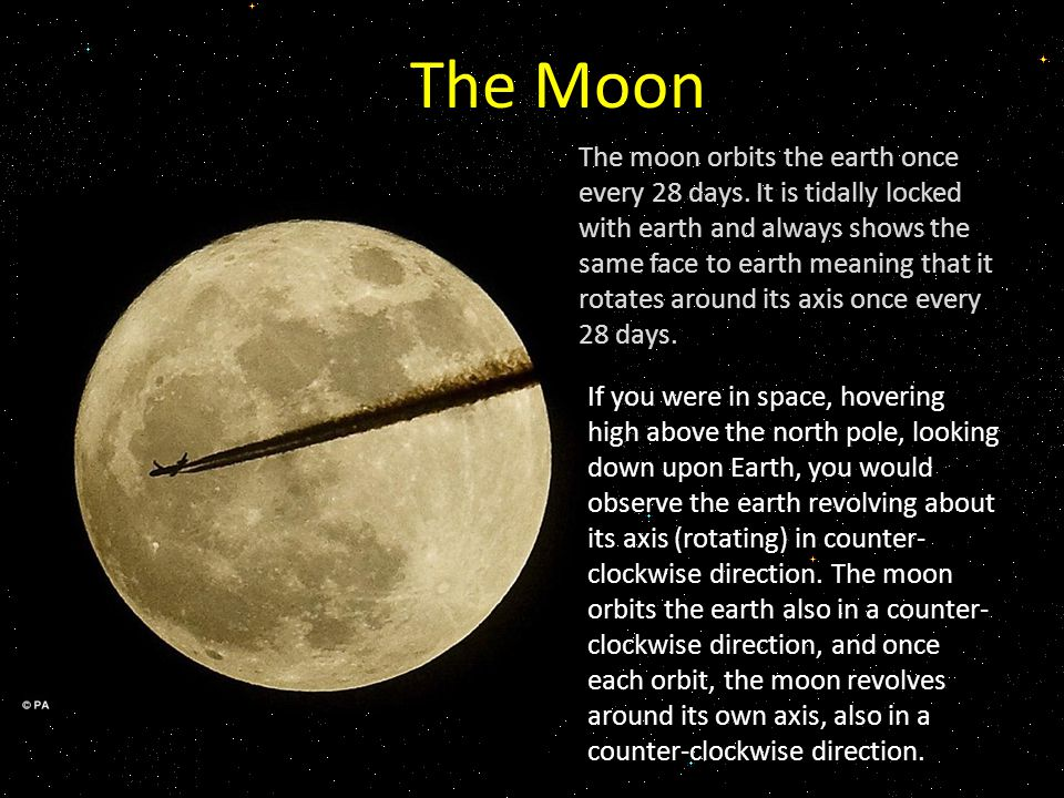 The Moon The moon orbits the earth once every 28 days.