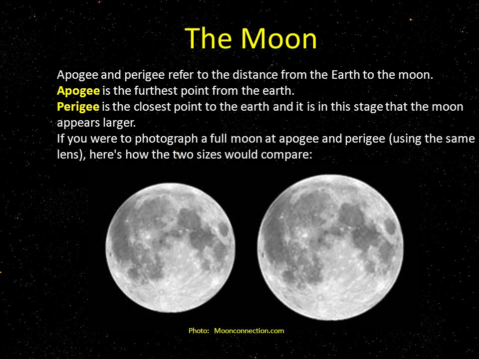 The Moon Apogee and perigee refer to the distance from the Earth to the moon.