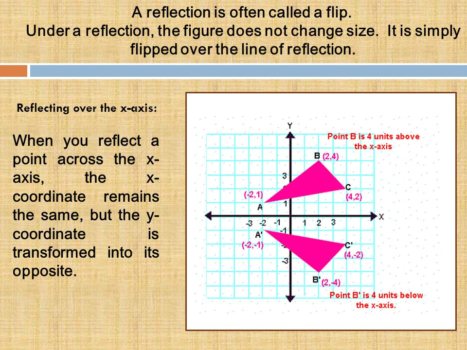 A reflection is often called a flip. Under a reflection, the figure does not change size. It is simply flipped over the line of reflection. Reflecting