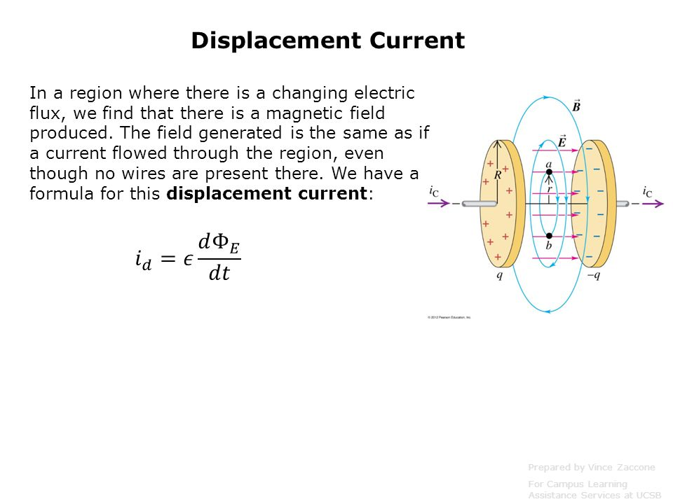 Displacement Current Prepared by Vince Zaccone For Campus Learning Assistance Services at UCSB In a region where there is a changing electric flux, we find that there is a magnetic field produced.