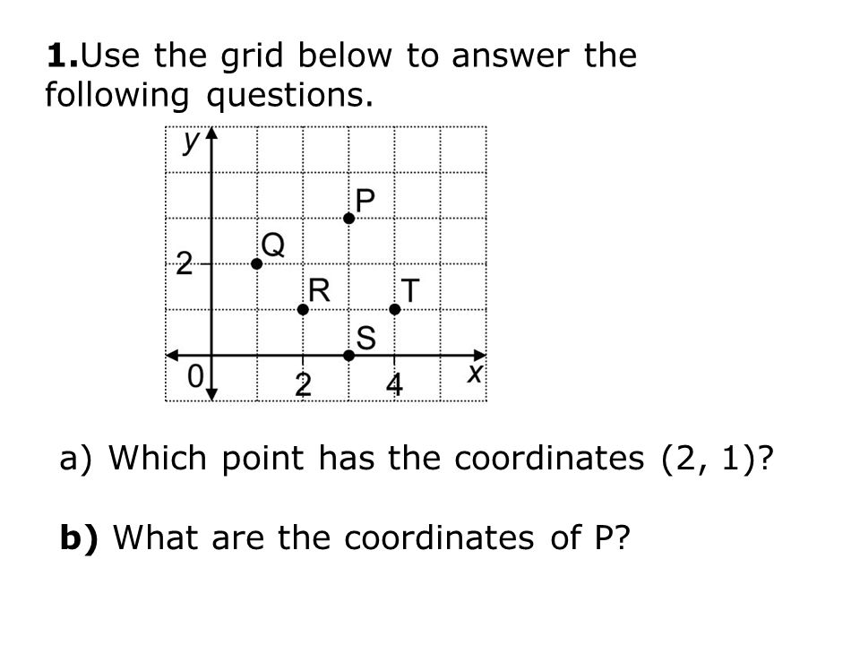 1.Use the grid below to answer the following questions.