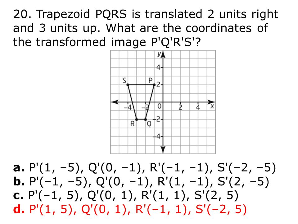 20. Trapezoid PQRS is translated 2 units right and 3 units up.