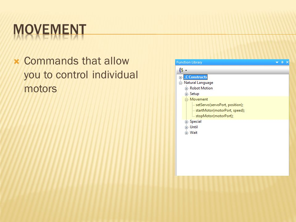  Commands that allow you to control individual motors