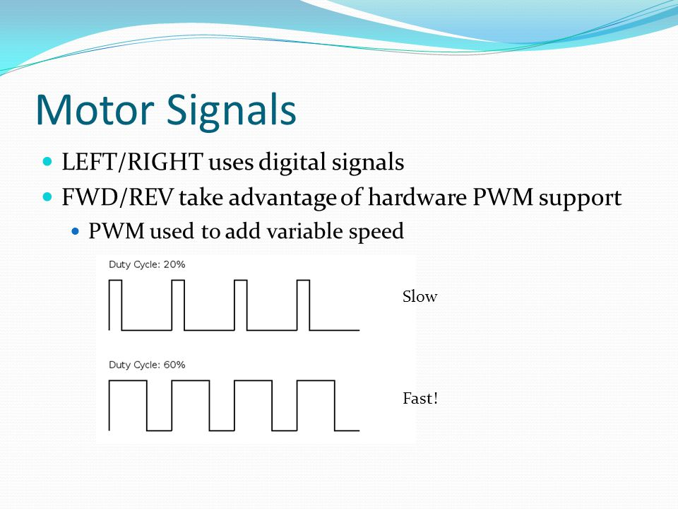 Motor Signals LEFT/RIGHT uses digital signals FWD/REV take advantage of hardware PWM support PWM used to add variable speed Slow Fast!