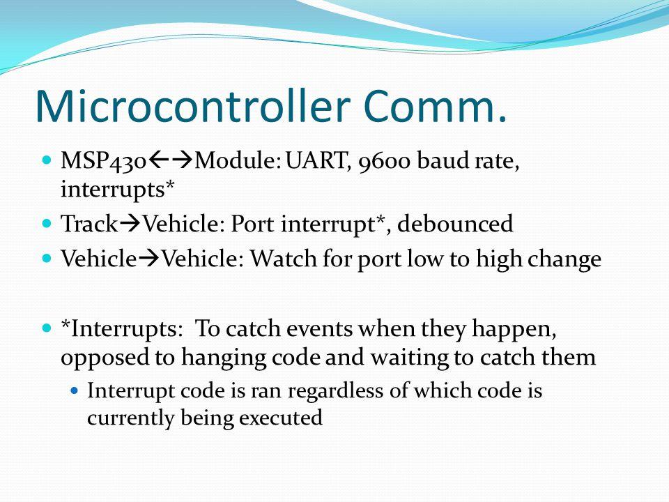 Microcontroller Comm. MSP430  Module: UART, 9600 baud rate, interrupts* Track  Vehicle: Port interrupt*, debounced Vehicle  Vehicle: Watch for por
