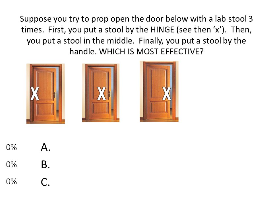 Suppose you try to prop open the door below with a lab stool 3 times. First, you put a stool by the HINGE (see then 'x'). Then, you put a stool in the