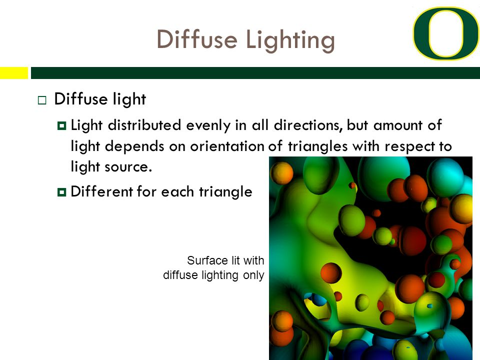 Diffuse Lighting  Diffuse light  Light distributed evenly in all directions, but amount of light depends on orientation of triangles with respect to light source.