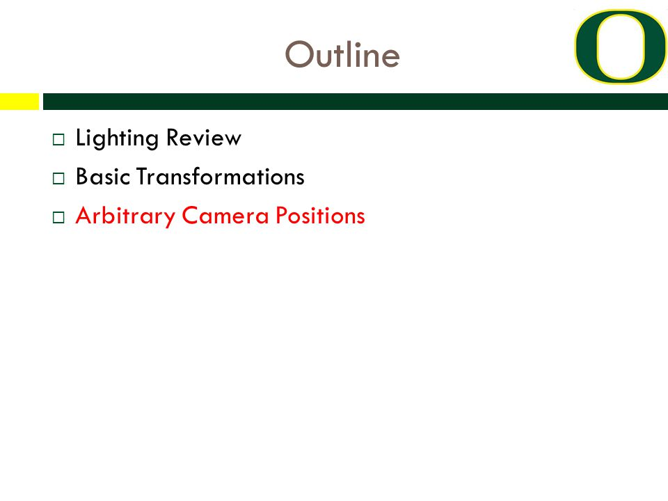 Outline  Lighting Review  Basic Transformations  Arbitrary Camera Positions