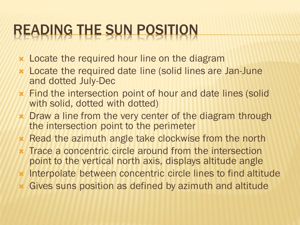  Locate the required hour line on the diagram  Locate the required date line (solid lines are Jan-June and dotted July-Dec  Find the intersection point of hour and date lines (solid with solid, dotted with dotted)  Draw a line from the very center of the diagram through the intersection point to the perimeter  Read the azimuth angle take clockwise from the north  Trace a concentric circle around from the intersection point to the vertical north axis, displays altitude angle  Interpolate between concentric circle lines to find altitude  Gives suns position as defined by azimuth and altitude