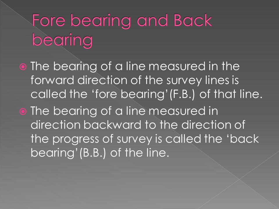 TThe bearing of a line measured in the forward direction of the survey lines is called the 'fore bearing'(F.B.) of that line. TThe bearing of a li