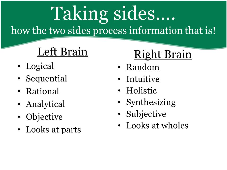 Taking sides…. how the two sides process information that is.