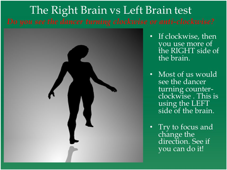The Right Brain vs Left Brain test Do you see the dancer turning clockwise or anti-clockwise.