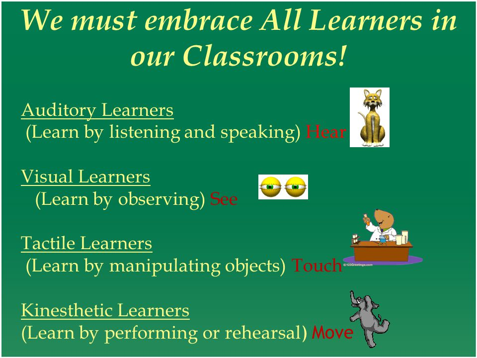 We must embrace All Learners in our Classrooms! Auditory Learners (Learn by listening and speaking) Hear Visual Learners (Learn by observing) See Tact