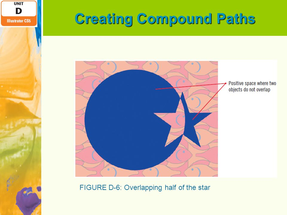 Creating Compound Paths FIGURE D-6: Overlapping half of the star
