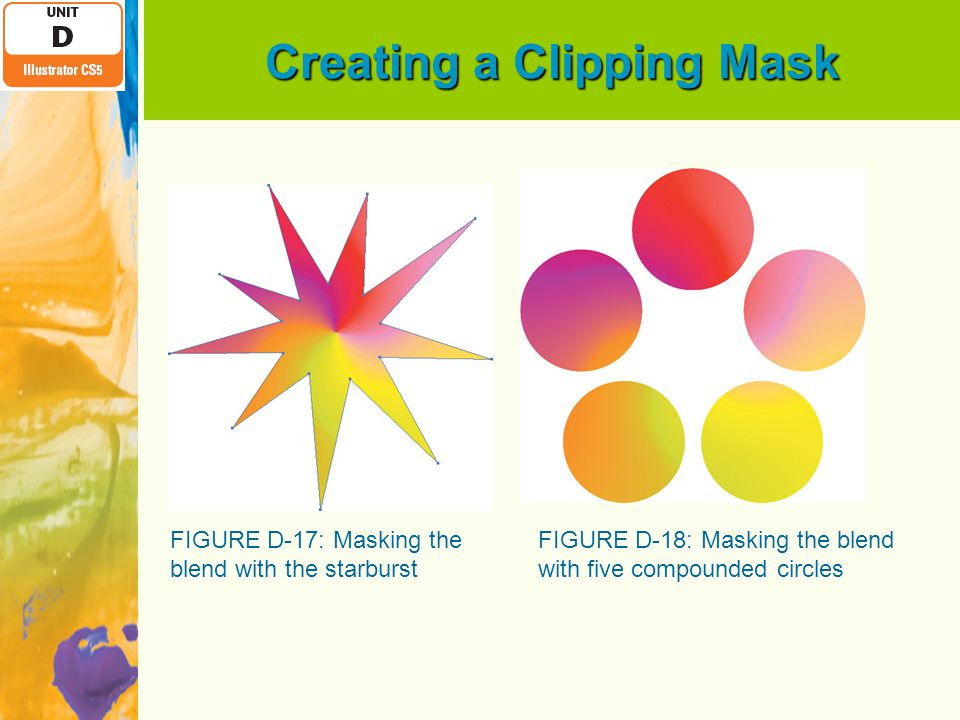 Creating a Clipping Mask FIGURE D-17: Masking the blend with the starburst FIGURE D-18: Masking the blend with five compounded circles
