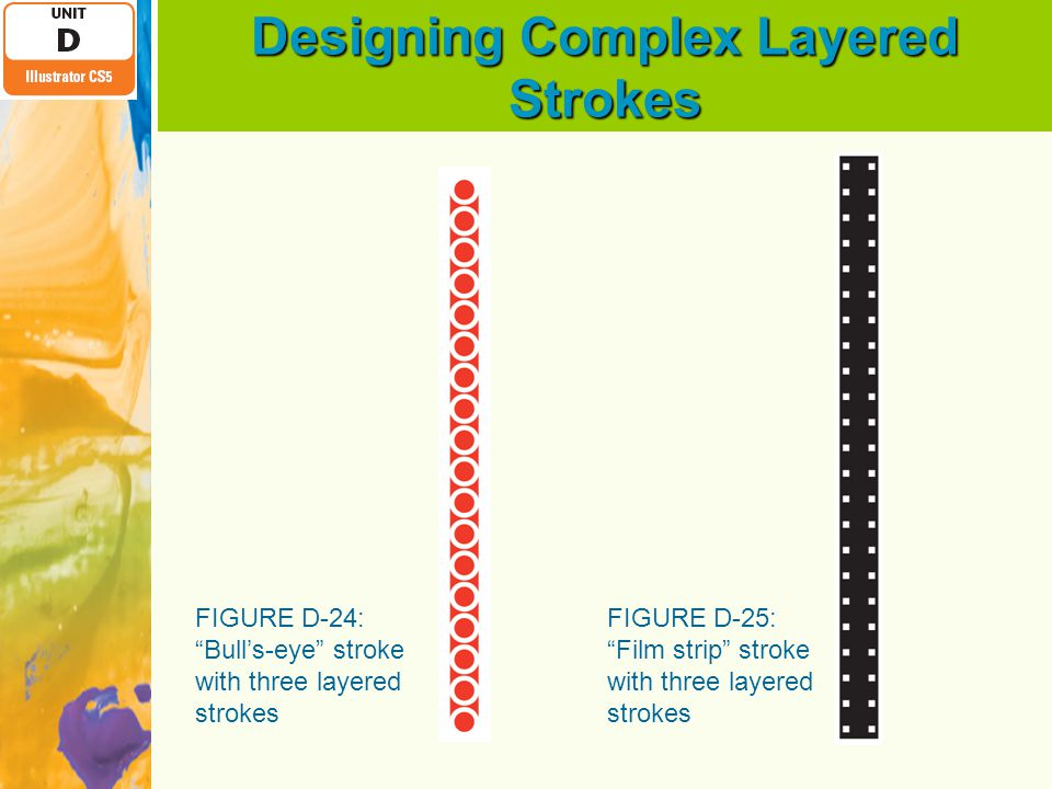 "Designing Complex Layered Strokes FIGURE D-24: ""Bull's-eye"" stroke with three layered strokes FIGURE D-25: ""Film strip"" stroke with three layered stro"