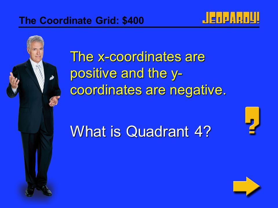 The Coordinate Grid: $400 The x-coordinates are positive and the y- coordinates are negative.