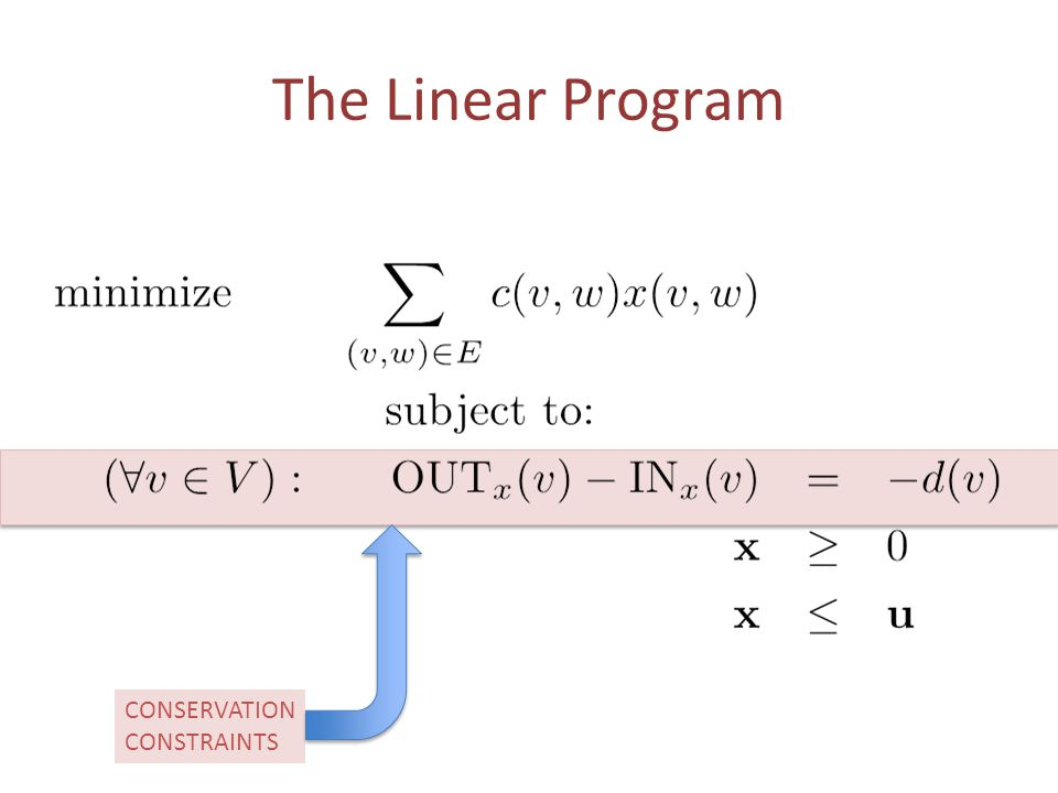 The Linear Program CONSERVATION CONSTRAINTS