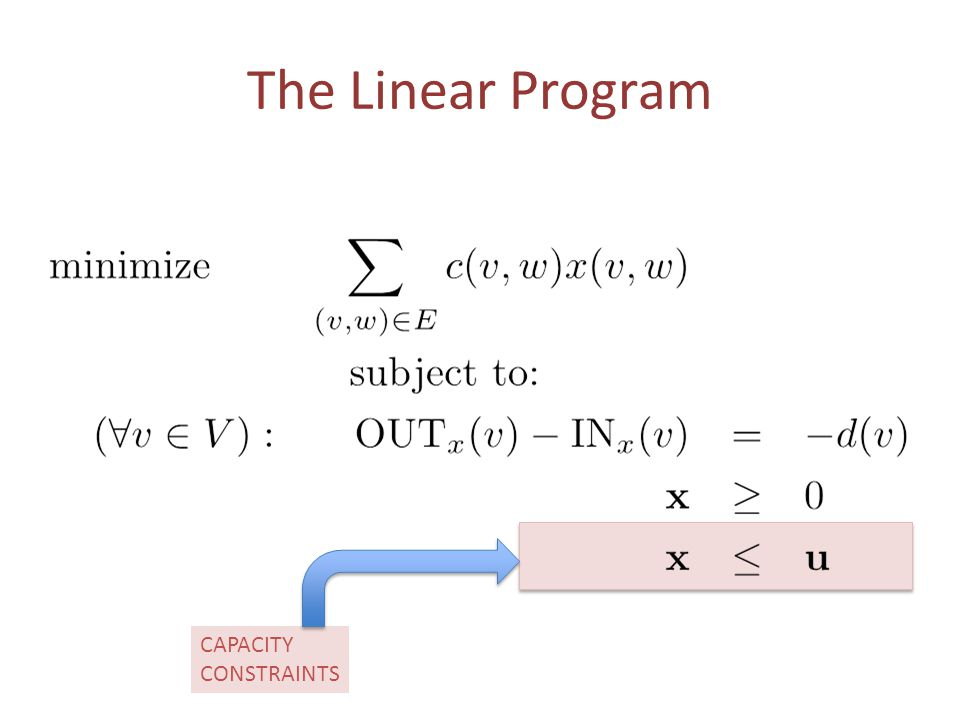 Main Theorem For an instance of a Minimum Cost Flow Problem, if (a) Every demand is integral and (b) Every capacity is integral then Every Basic Feasible Solution is Integral Very useful, since in many applications (eg.