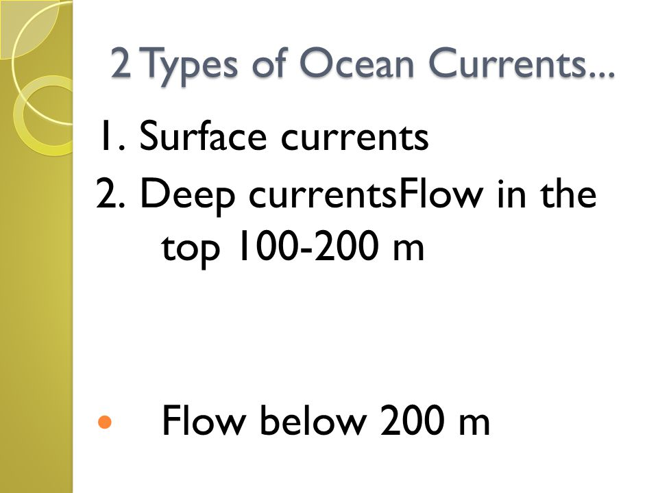 2 Types of Ocean Currents... 1. Surface currents 2. Deep currentsFlow in the top 100-200 m Flow below 200 m