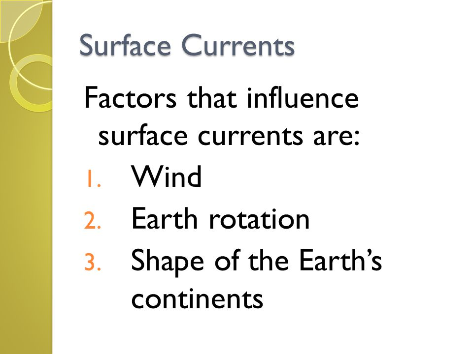Surface Currents Factors that influence surface currents are: 1. Wind 2. Earth rotation 3. Shape of the Earth's continents