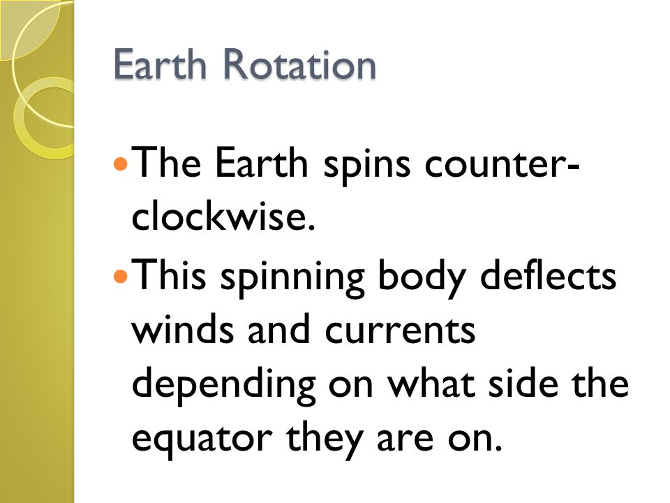 Earth Rotation The Earth spins counter- clockwise.