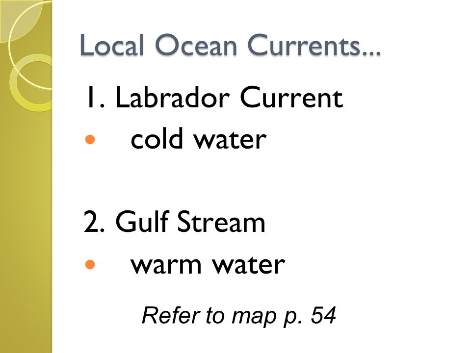 Local Ocean Currents... 1. Labrador Current cold water 2. Gulf Stream warm water Refer to map p. 54