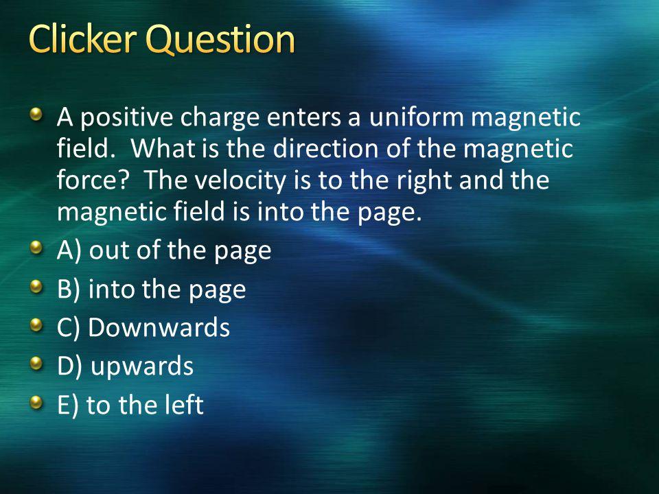 A positive charge enters a uniform magnetic field.