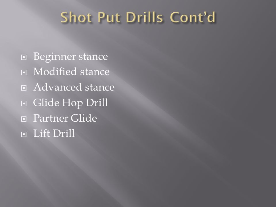  Beginner stance  Modified stance  Advanced stance  Glide Hop Drill  Partner Glide  Lift Drill