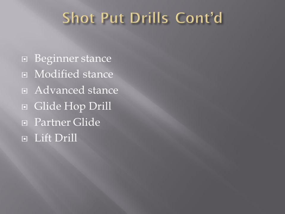  Beginner stance  Modified stance  Advanced stance  Glide Hop Drill  Partner Glide  Lift Drill