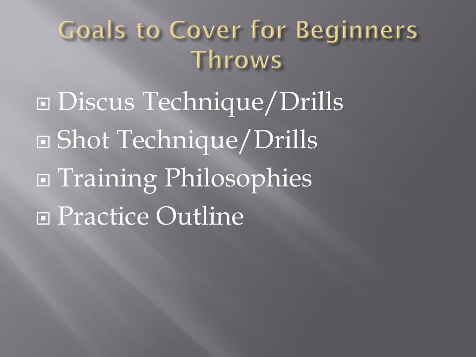  Discus Technique/Drills  Shot Technique/Drills  Training Philosophies  Practice Outline