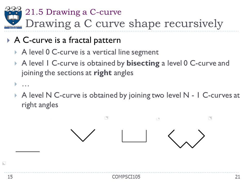  A C-curve is a fractal pattern  A level 0 C-curve is a vertical line segment  A level 1 C-curve is obtained by bisecting a level 0 C-curve and joi