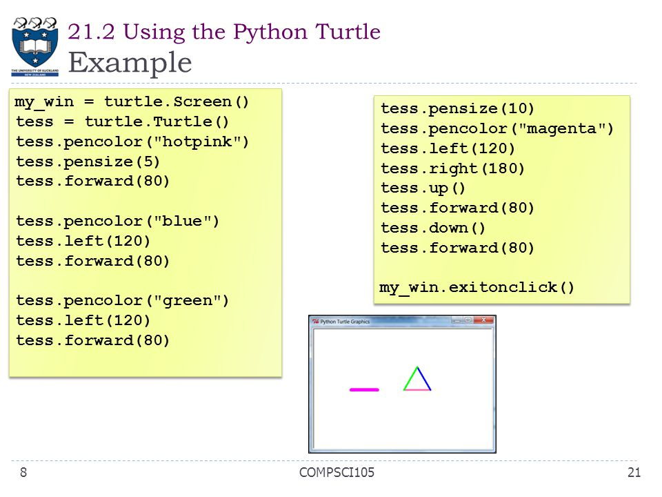 21.2 Using the Python Turtle Example 21COMPSCI1058 my_win = turtle.Screen() tess = turtle.Turtle() tess.pencolor(