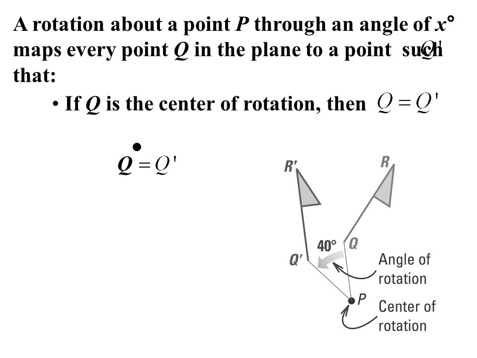 A rotation about a point P through an angle of x° maps every point Q in the plane to a point such that: If Q is the center of rotation, then Q