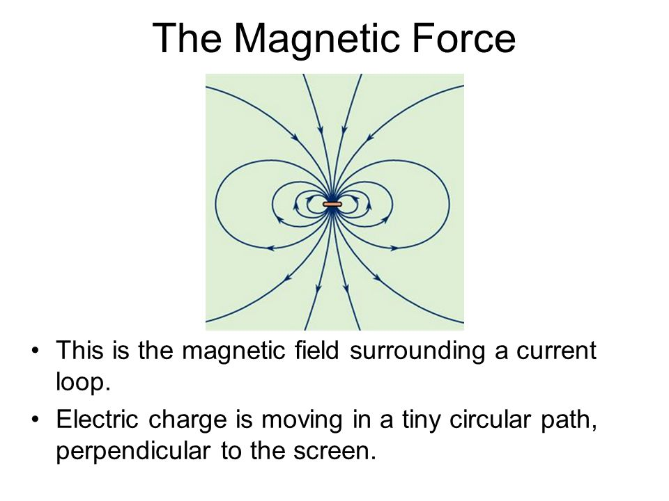 The Magnetic Force This is the magnetic field surrounding a current loop.