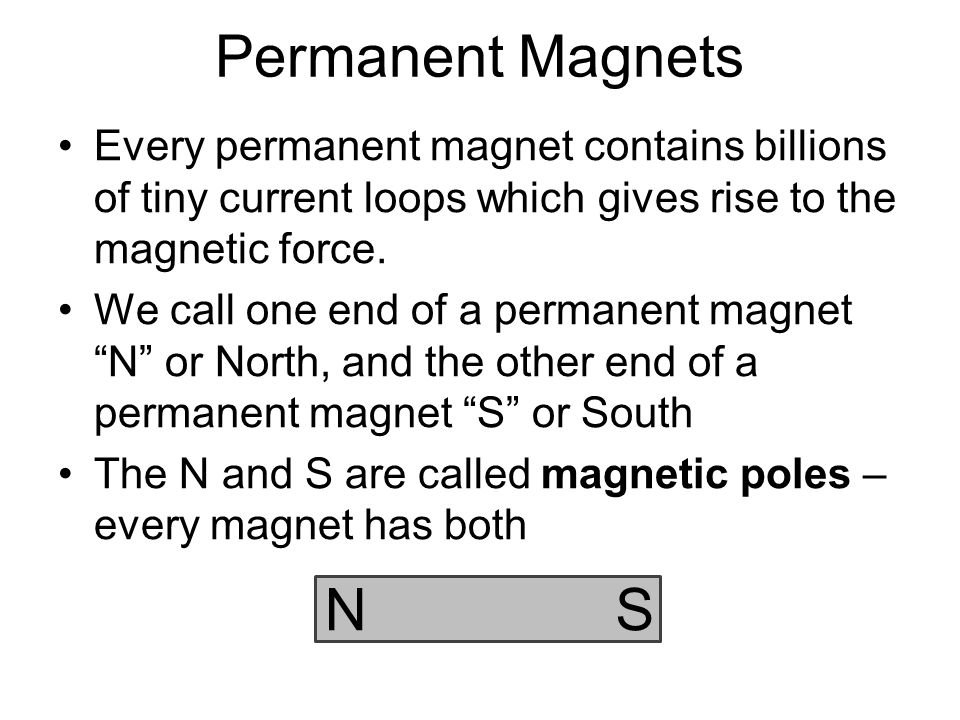 The Magnetic Force Opposite poles attract, like poles repel. NS NS NS N S N S NS