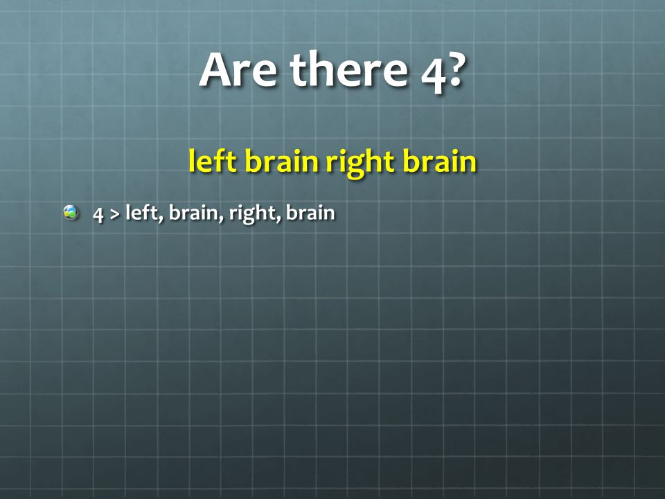 Slightly different question left brain right brain How many different words do you see?