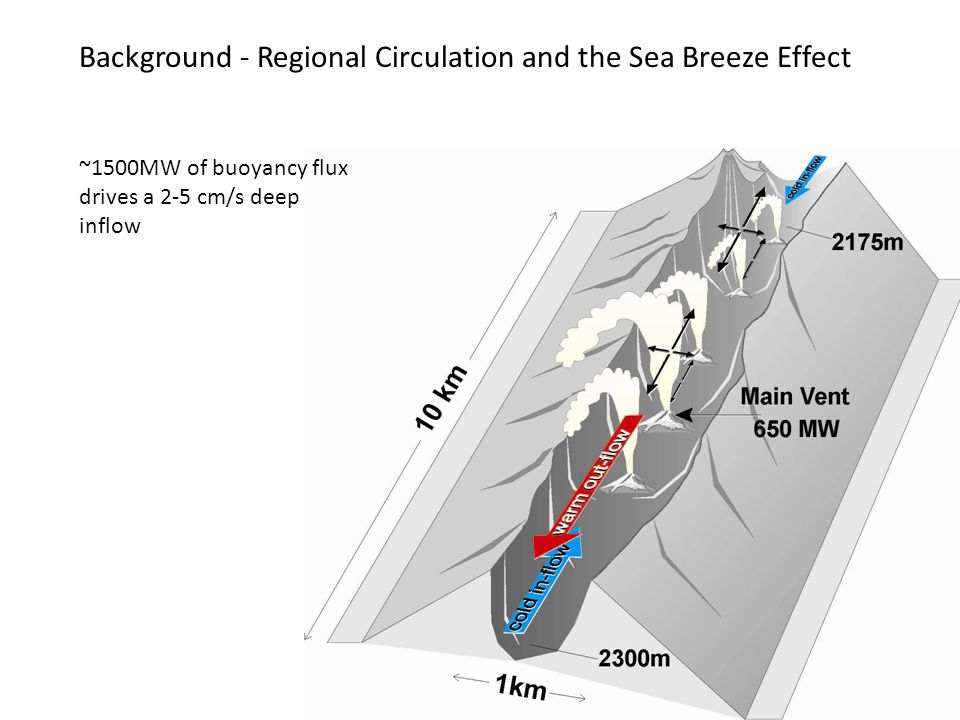 Background - Regional Circulation and the Sea Breeze Effect ~1500MW of buoyancy flux drives a 2-5 cm/s deep inflow