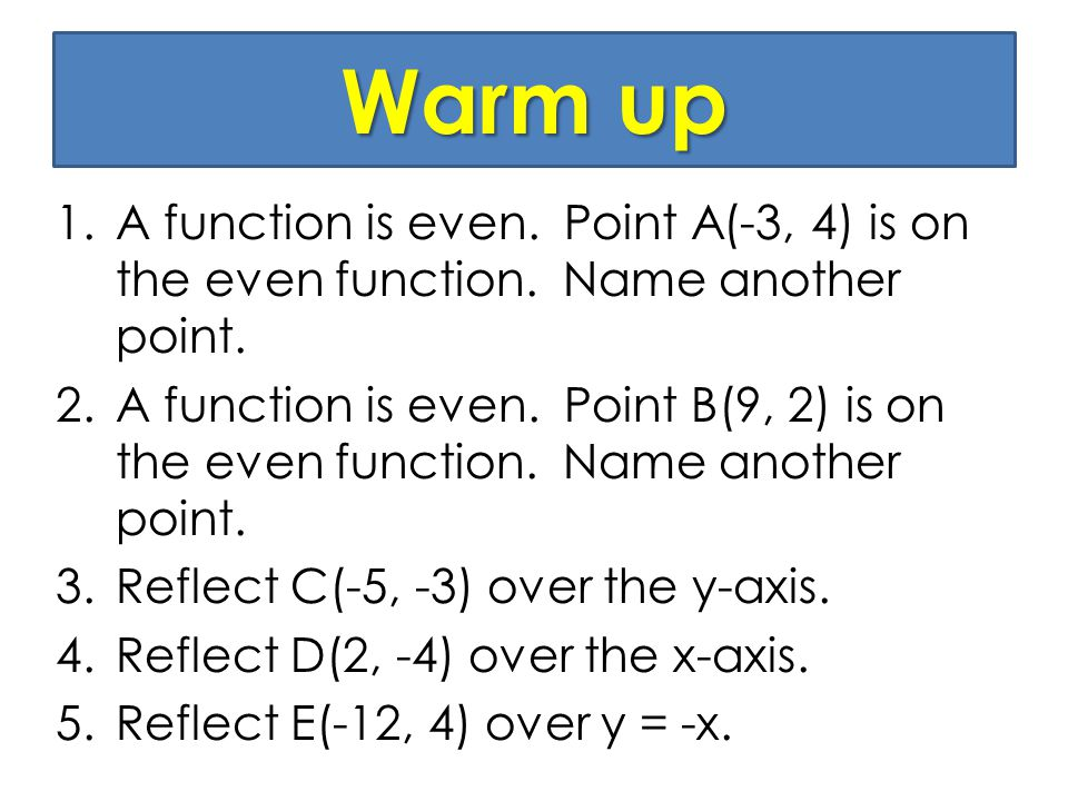 Warm up 1.A function is even. Point A(-3, 4) is on the even function.