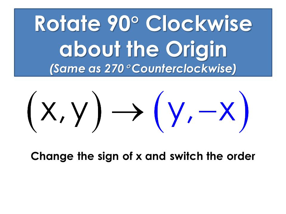 Rotate 90  Clockwise about the Origin (Same as 270  Counterclockwise) Change the sign of x and switch the order
