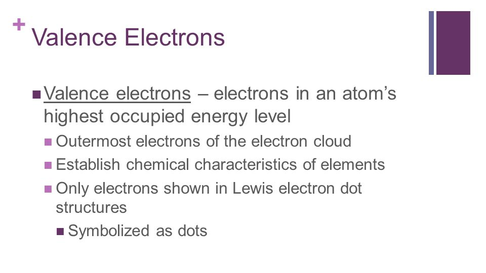 + Valence Electrons Valence electrons – electrons in an atom's highest occupied energy level Outermost electrons of the electron cloud Establish chemical characteristics of elements Only electrons shown in Lewis electron dot structures Symbolized as dots