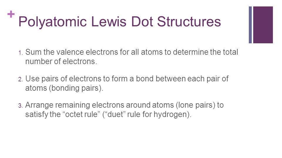 + Polyatomic Lewis Dot Structures 1.
