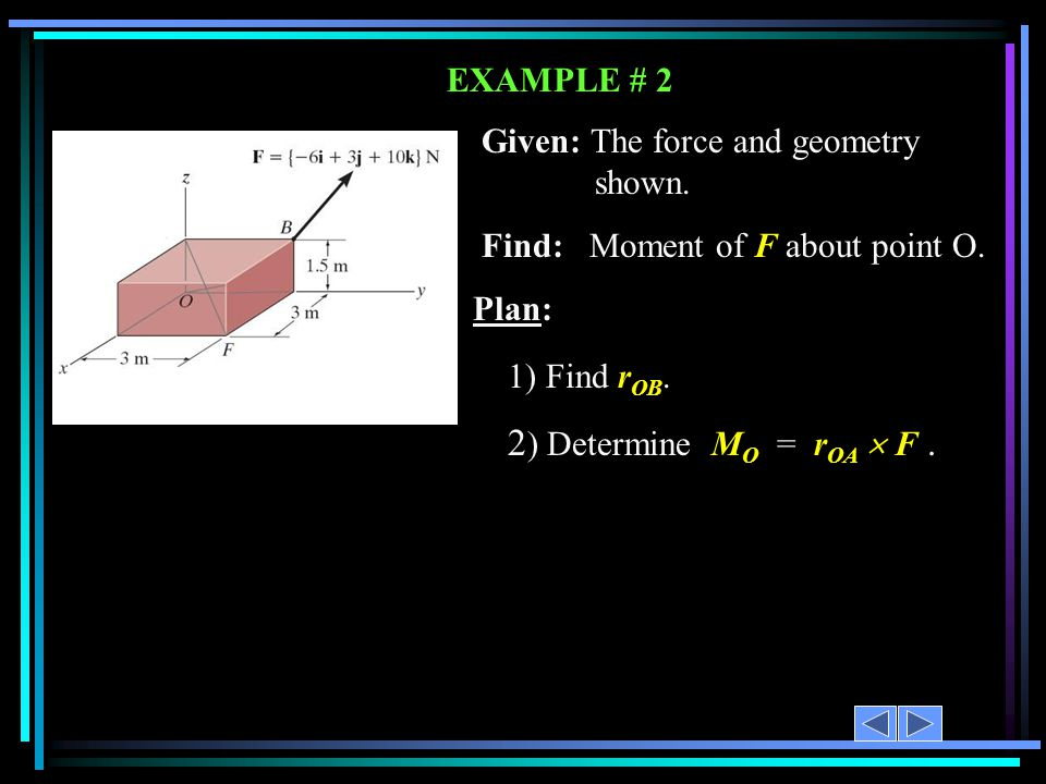 EXAMPLE # 2 1) Find r OB. 2 ) Determine M O = r OA  F. o Given: The force and geometry shown. Find: Moment of F about point O. Plan: